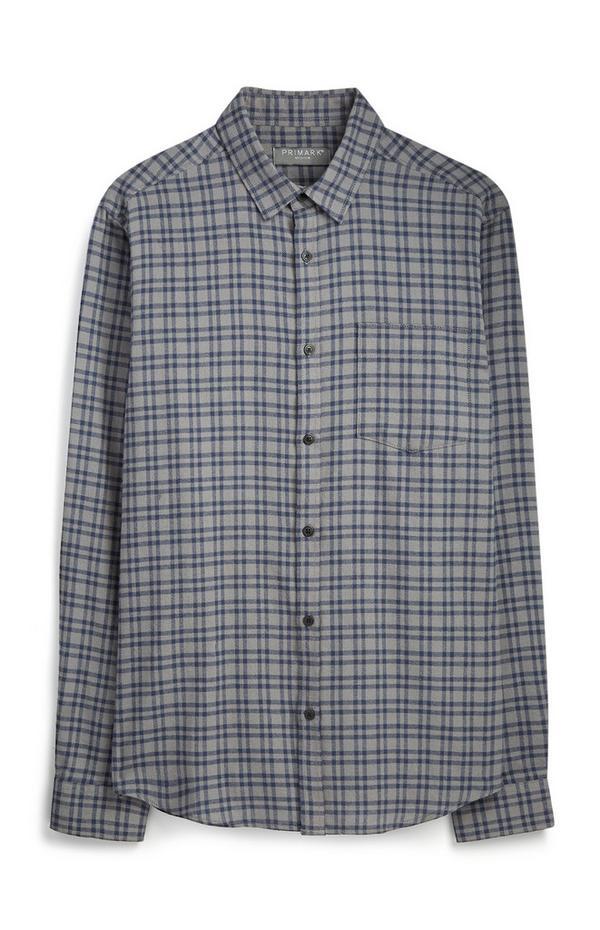 Chemise grise à carreaux en flanelle
