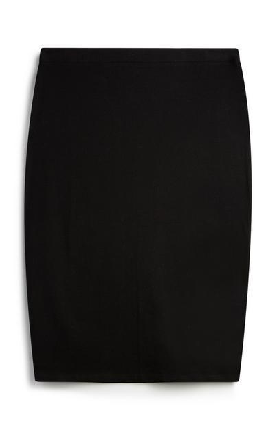 Black Jersey-Knit Midi Skirt