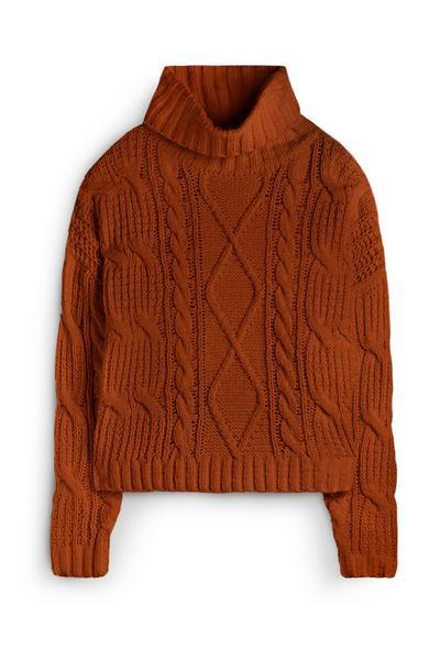 Tan Roll Neck Chunky Sweater