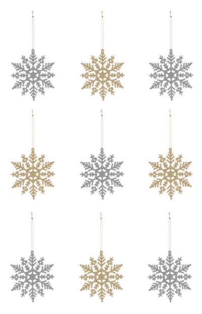 Pack 9 decorações floco de neve