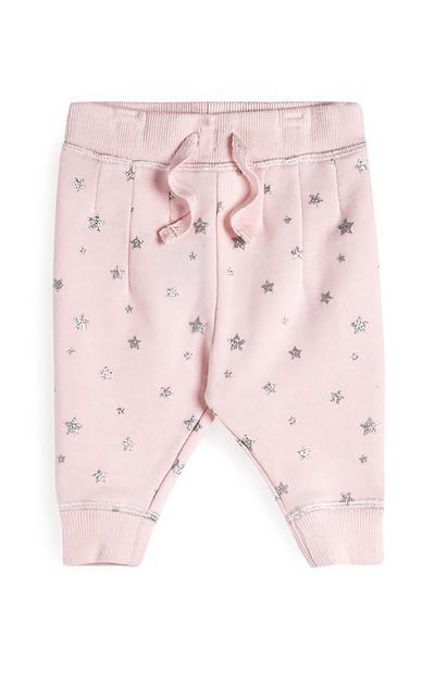 Calças fato treino menina bebé cor-de-rosa