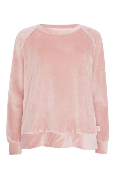 Roze velours top