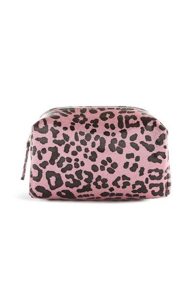 Pink Leopard Print Makeup Bag
