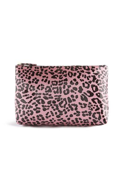 Pink Leopard Print Makeup Bag