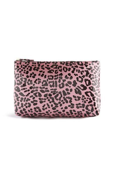 Bolsa maquilhagem padrão leopardo cor-de-rosa