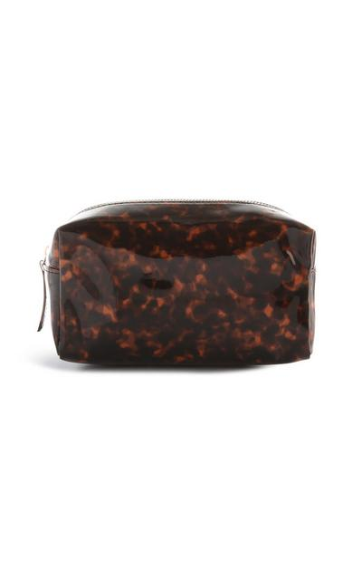 Rjava torbica za ličila z motivom želvovine