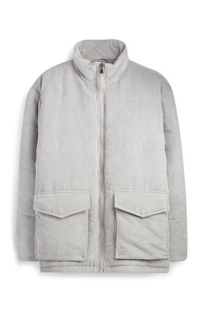 Light Grey Cord Puffer Coat