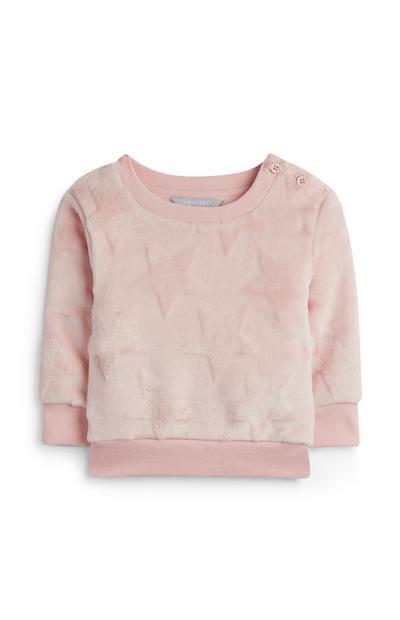 Rosafarbener Fleecepullover für Babys (M)