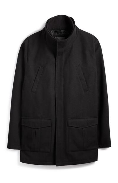 Manteau noir en laine avec col cheminée