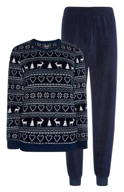 Navy Fairsle Pyjama Set