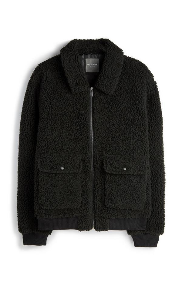 Zwart jasje van teddystof