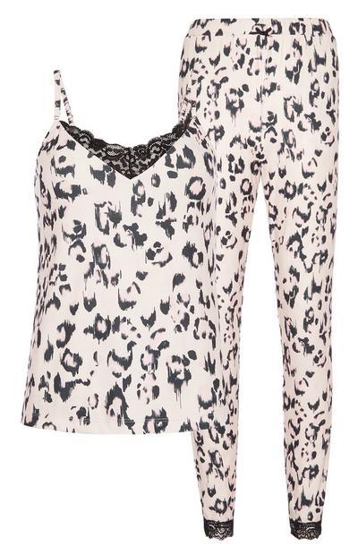 Pijama padrão animal cor-de-rosa