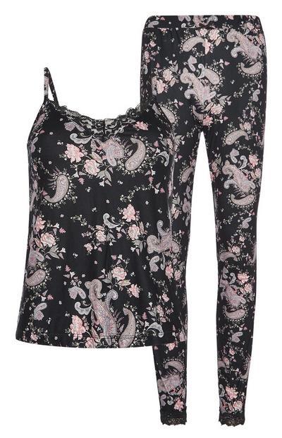 Zwarte pyjama met paisleyprint