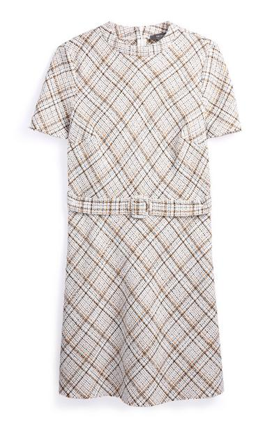 Cream Belted Check Dress