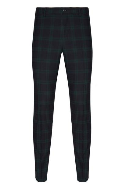 Green And Navy Large Check Trousers