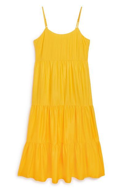 Vestido camadas amarelo