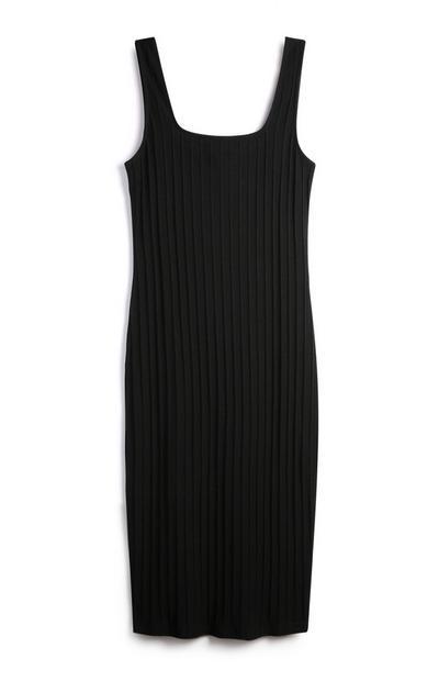 Vestido s/ mangas canelado preto