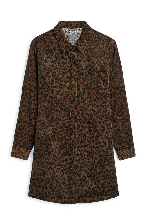 Animal Print Corduroy Longline Shirt