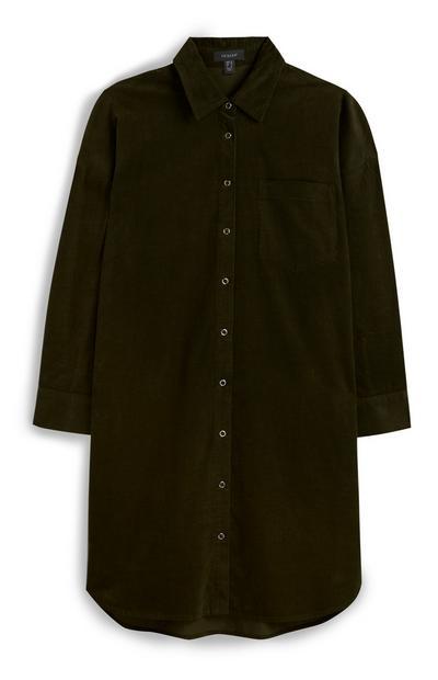 Vestido bombazina caqui
