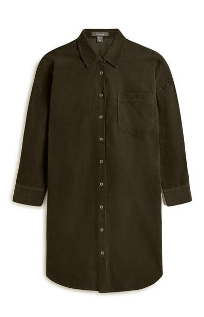 Camisa bombazina comprida verde