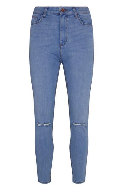 Jean skinny bleu déchiré