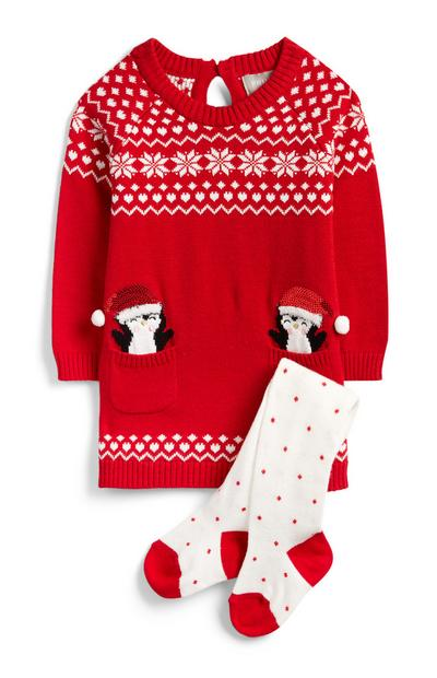Baby Girl Red Knit Christmas Dress And Tights