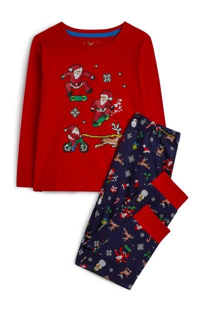Pijama navideño rojo y azul marino para niño pequeño