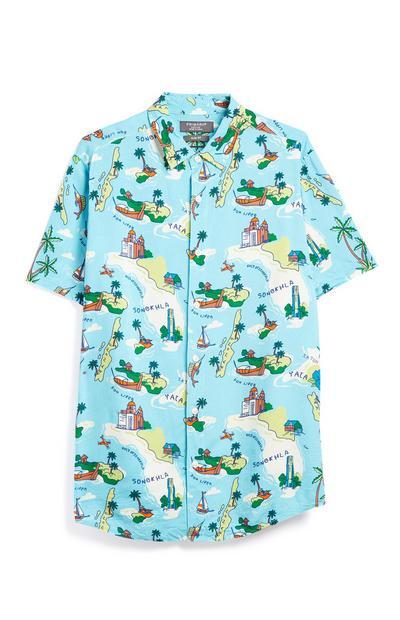Camicia blu stampa isole