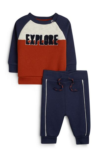 Donkerblauwe babytrui en -joggingbroek Explore, jongens