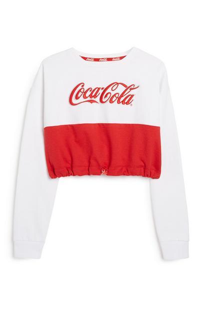 Older Girl Cropped Coca Cola Sweatshirt