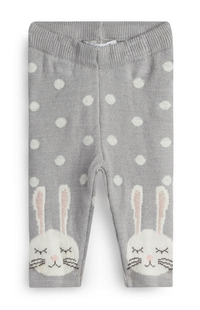 Graue Leggings mit Häschen für Babys (M)