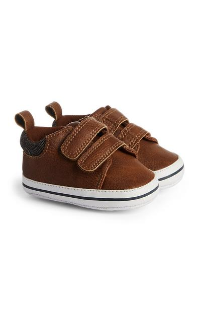 Baby Boy Tan Velcro Shoes