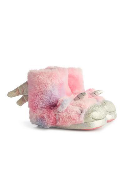 Stivali a pantofola rosa con unicorno