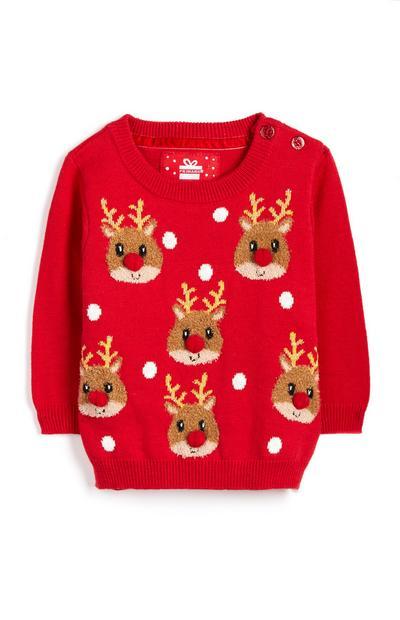 Maglione rosso natalizio con renne da bimba