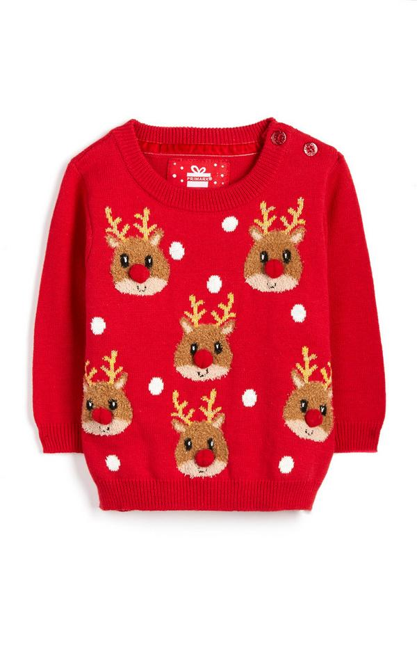 Baby Girl Red Reindeer Christmas Sweater