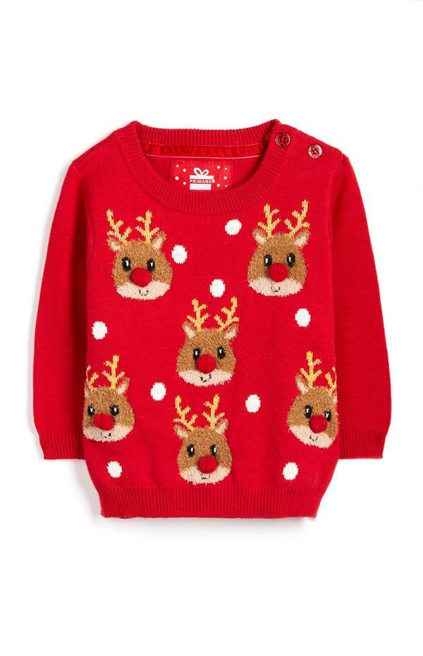 Pull de Noël rouge à motifs renne bébé fille