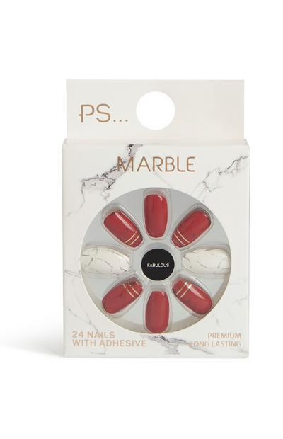 Rode kunstnagels squareletto marble