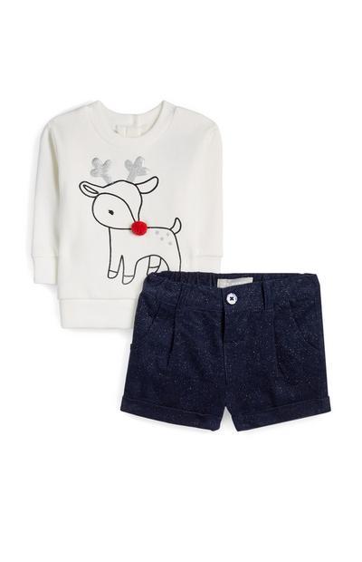 Camisola Rodolfo e calções brilhos menina bebé branco/azul