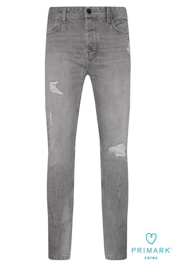 Graue Jeans aus nachhaltiger Baumwolle im Used-Look
