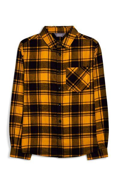 Chemise orange à carreaux écossais ado