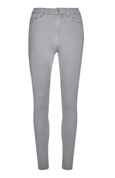 Jeans skinny grigi super elasticizzati