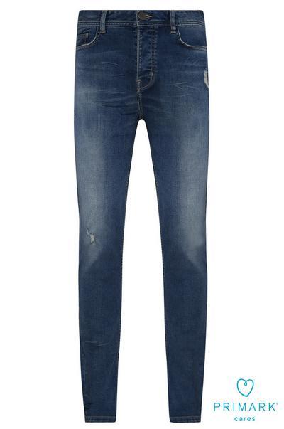 Calças ganga corte justo algodão sustentável azul