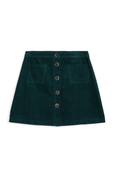 Green Cord Button Up Mini Skirt