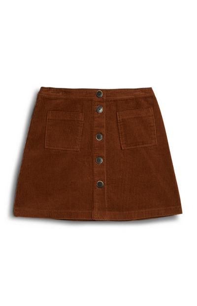 Minifalda de pana color tostado