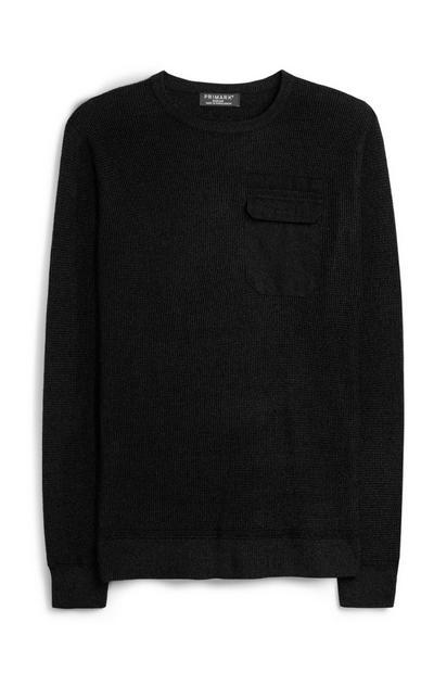 Schwarzer Utility-Pullover