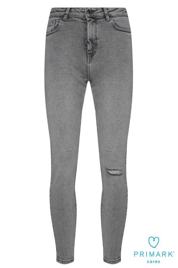 Lichtgrijze jeans van duurzaam katoen met scheuren