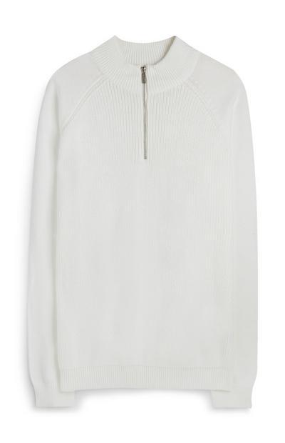 White Half-Zipper Sweater