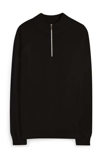 Schwarzer Pullover mit kurzem Reißverschluss