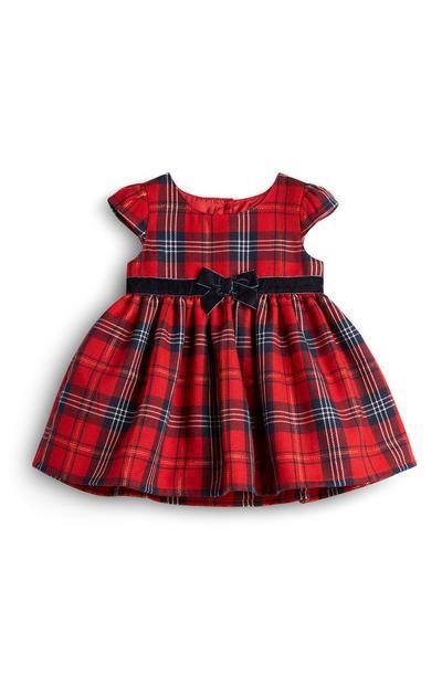 Rood babyjurkje met Schotse ruit en zwarte strik voor meisjes