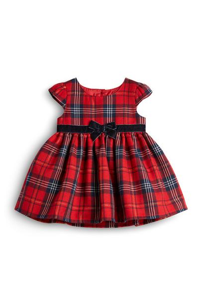 Baby Girl Red Tartan Dress With Black Bow